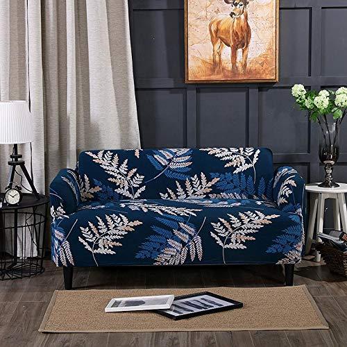 Funda Sofá 235-300 cm con Funda de Cojín de 4 Piezas 45x45 cm (Pack de 5), Poliéster Stretch Cubre Sofá Funda Protector Antideslizante Sofa Couch Cover (Planta Azul/4 Asientos)
