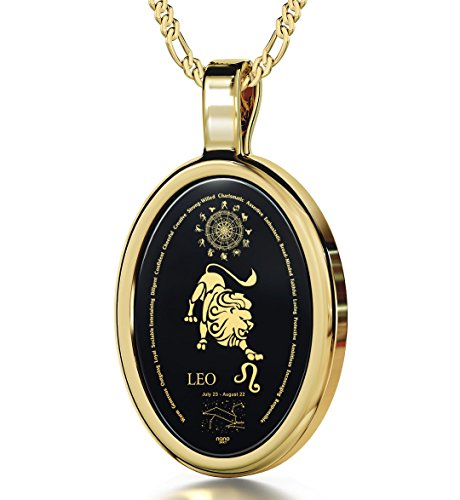 "14k Yellow Gold Leo Necklace Zodiac Pendant for Women 24k Gold Inscribed on Onyx Gemstone Birthday Jewelry 23rd July to 22nd August, 18"" Gold Plated Silver Chain"