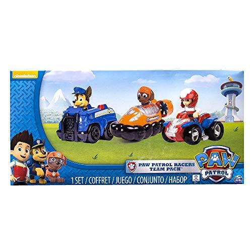 PAW Patrol Confezione da 3 Veicoli Rescue Racers, Ryder, Zuma e Chase, dai 3 Anni, 6024059