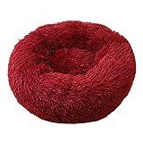 Voqeen Cama de peluche para perro con donut de peluche redonda y cálida para perrito suave, cojín para sofá, gato, color rojo vino