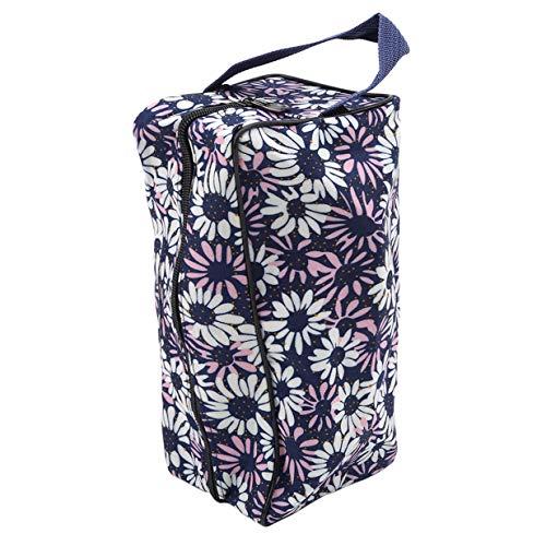 EJY Portable Femmes Floral Maquillage Sac Voyage Zipper Cosmetic Wash Organizer Sac(Bleu foncé)