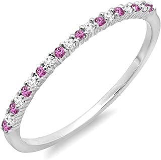 10K White Gold Round Pink Sapphire & White Diamond Ladies Wedding Stackable Ring