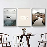 Póster e impresiones artísticas Nordic Sunrise Naturaleza Paisaje Lienzo Pinturas Montaña Lago Galería Decoración de pared Imágenes 50x80cmx3pcs Sin marco