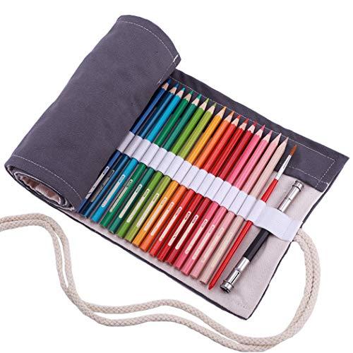 amoyie Sacchetto della matita tela rotolo astuccio per 48 matite colorate - Tela astucci (no inclusa matite), Grigio