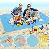 Idefair Manta Picnic Impermeable, Toalla Playa Gigante con 4 Estacas Grande Anti Arena Esterilla Playa para Manta Al Aire Libre De Camping De Picnic De Playa (200 x 200CM)