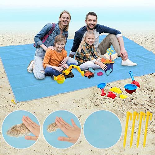 Idefair Manta Picnic Impermeable, Toalla Playa Gigante con 4 Estacas Grande Anti Arena Esterilla Playa para Manta Al Aire Libre De Camping De Picnic De Playa (200 x 150CM)