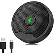 Hfuear Conference USB Microphone for Computer, Omni-Directional Condenser PC Laptop Mic with Instant Mute, Detachable USB C for Skype Conference, Video Meeting, Gaming, Chatting, Win/Mac Support