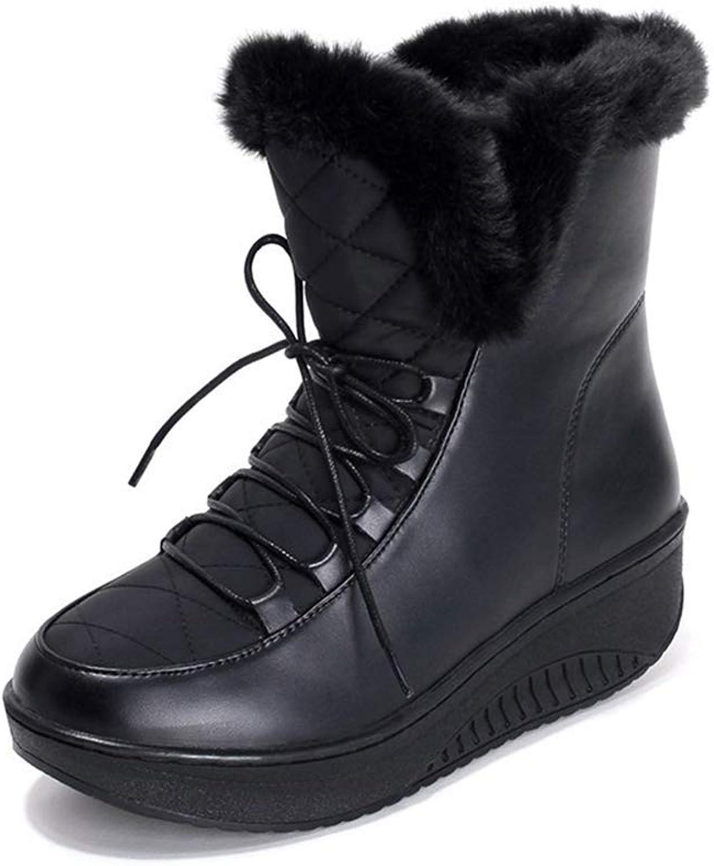 Gedigits Women Winter Platform Snow Fashion-Sneakers Female Waterproof Wedge Casual Sneakers Fur Swing shoes Black 5 M US