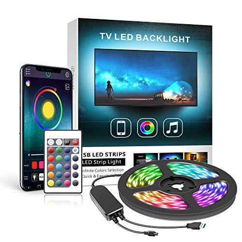 """Ruban Led TV 2M, Mexllex Led Ruban Bande Lumineuse Led 5050 RGB SMD Multicouleur Rétroéclairage TV avec Télécommande App pour 32""""-60""""HDTV, Alimenté par USB"""