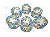 Piatti Vietri Ceramica vietrese Linea Limoni Bordo Blu 6 Piatti Piani e 6 Piatti Fondi.