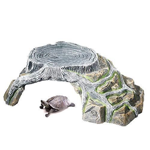 N/OMdd Cueva de Piel de Roca de Reptil, hábitat de Acuario, hábitat Natural de árbol de Resina de Tortuga de 13.3 x 9.4 x 4.3 Pulgadas, escondite para lagartos pequeños, Reptiles, Anfibios, Peces