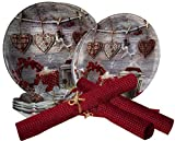 Gojoy Shop- Juegos de Vajilla Vidrio,Navidad,16 Piezas para 4 Personas,Contiene 4 Cuencos, Platos Ø 30cm, Platos Ø 25cm y Salvamanteles Rojos. (Color clarito- Set navideña)