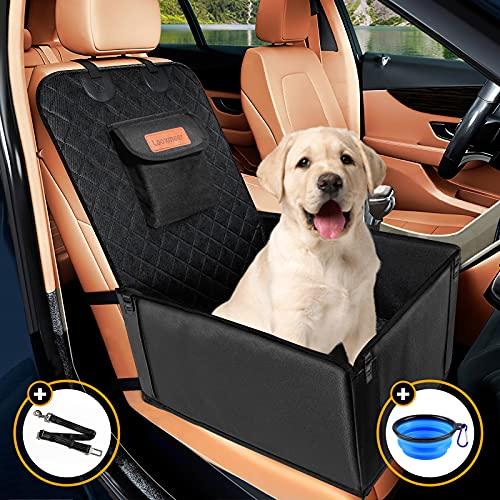 Looxmeer Asiento Coche Perro Pequeño Mediano Impermeable Homologado, Funda Asiento Delantero para Mascotas, Cubre de Perro Lavable Plegable para Viajes, 58x50x38cm, Negro