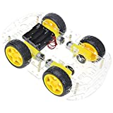 MakerFocus DIY Robot Car Smart Chassis Kit with Speed Encoder 4 Wheel 2 Layer for Ar duino UNO MEGA2560 MEGA1280 51 Microcontroller Board
