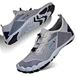 Mens Water Shoes Quick Dry Beach Swim Shoes Barefoot Pool Aqua Socks Shoes for Surf Diving Outdoor Hiking Walking Water Sport (Light Gray 1924, 39)