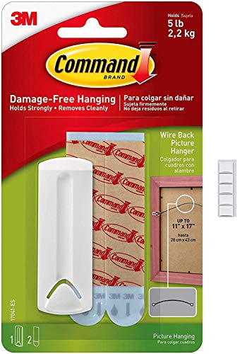 3M Command 17041 Wire Backed Picture Hanger with Command Strips with Scotch mounting Putty