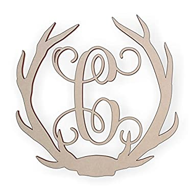Jess and Jessica Wooden Deer Antler Monogram Letter C for Wall Decor or Door Hanger, Great for Gifts