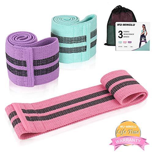 Bande di resistenza in tessuto (3 set), stivaletti per anca con stivaletti per il fitness con passanti antiscivolo per Pilates, palestra, allenamento, yoga, allenamento
