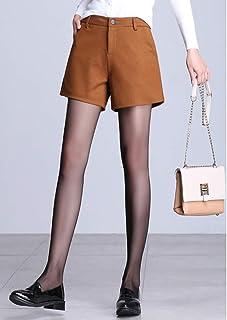 法贝莱 2018秋季新款女装韩版时尚外穿A字阔腿毛呢短裤黑色宽松高腰呢子靴裤K-8302