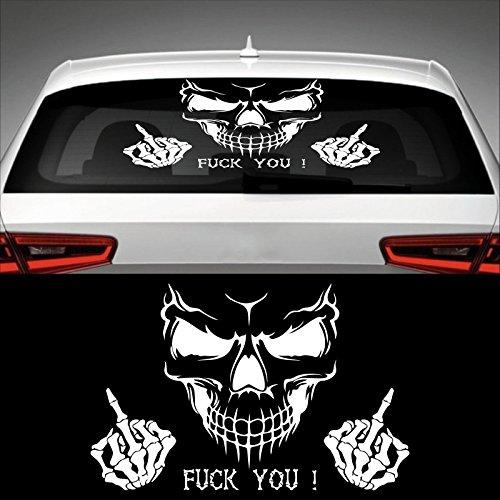 Skull FUCK YOU! Heckscheibenaufkleber 60,0 cm x 39,0 cm Auto Aufkleber JDM OEM Tuning Sticker Decal 30 Farben zur Auswahl