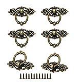 SUNSHINETEK 6 Stück Antiker Ringziehgriff mit Schrauben Vintage Küchenschrank Schrank Kommode Tür Schublade Ring Zuggriffe Knöpfe
