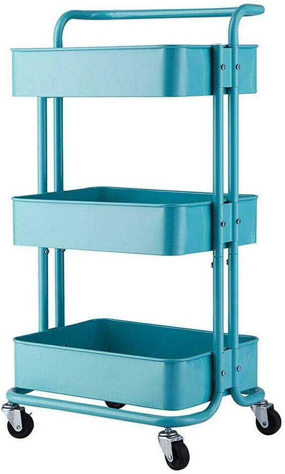 Super Arlington Mall beauty product restock quality top HJKM 3Tier Rolling Cart Kitchen-Islands-and-carts Turquoise Kit