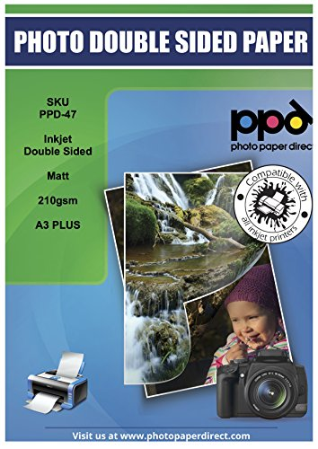 PPD Inkjet 210 g/m2 Schweres Fotopapier Beidseitig Matt Beschichtet Hochauflösend - ideal als hochwertiges Broschürenpapier und Flyerpapier - DIN A3+ (330 x 483 mm) x 50 Blatt PPD047-50