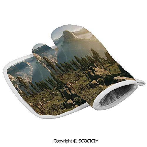 Homenon Oven Mitts Glove - Yosemite Valley and Half Dome in Foggy Morning During Romantic Sunrise Heat Resistant, Handle Hot Oven Cooking Items Safely