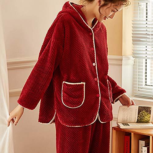 Pigiama da Donna Pajama Set for le donne 2-Piece completa for le vacanze della camicia da notte Imposta Pigiama Pantaloni Sleepwear Set morbido di flanella con cappuccio in pile Progettato Unico