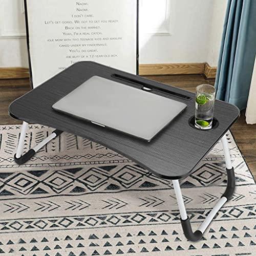 LC&TEAM Mesa para ordenador portátil, sofá, cama, desayuno, cama, escritorio, plegable, con ranura para tazas, para trabajar, escribir, estudiar, comer