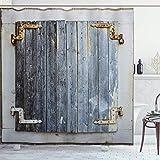 Alvaradod Fensterläden Duschvorhang,Fensterläden aus Holz mit schäbiger Farbe Rusty Antique Traditional Village Bild,Stoff Stoff Badezimmer Dekor Set mit Blaugrau mit 12 Kunststoffhaken 180x210cm