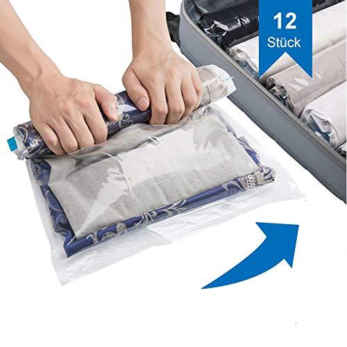 SilverRack Reise Vakuumbeutel zum Rollen in 3 Größen (12 Stück) - Backpacker Kompressionsbeutel ideal für den Rucksack - Vakuum Reisebeutel für Kleidung - perfekt für Dein nächstes Abenteuer