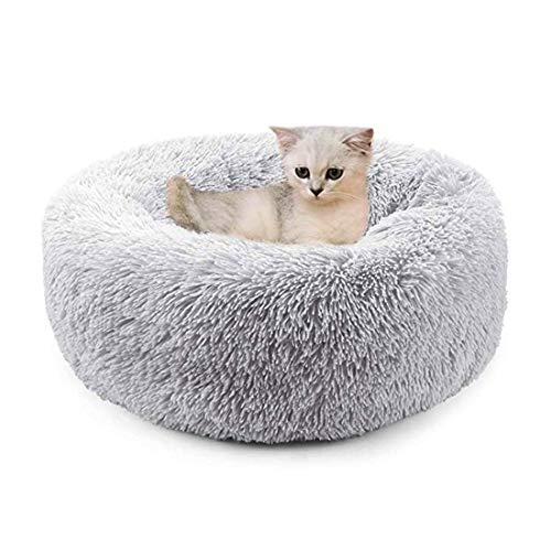 TVMALL Cama para perros Cama del gato Cojín de imitación de la piel del perro camas para perros Auto Calentamiento cubierta redonda dona Almohada XL: 80cm Gris