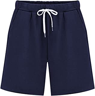 Gooket Women's Elastic Waist Soft Jersey Knit Bermuda Shorts with Drawstring - Blue - 20