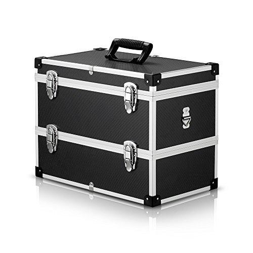 IKAYAA Alukoffer Werkzeugkiste Aufbewahrungskoffer Werkzeugkoffer mit Griff und Schultergurt Schwarz Aluminium