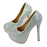 HUIERXIEYE Women's Extreme high Fashion Points to Platform with Hidden Toes Sexy Stiletto Pumps Crystal Wedding Shoes Party Dress Shoes (AB + Drill, Numeric_9_Point_5)
