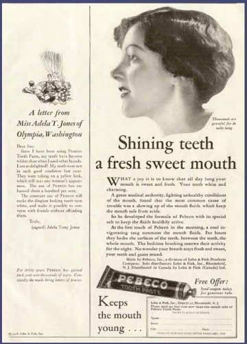 Miss Adela T. Jones Letter in 1928 PEBECO Toothpaste AD Original Paper Ephemera Authentic Vintage Print Magazine Ad/Article