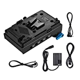 Andoer V Mount V-Lock Battery Plate Adapter with 15mm Dual Hole Rod Clamp LP-E6 Dummy Battery Adapter for BMCC BMPCC Canon 5D2/5D3/5D4/80D/6D2/7D2 for Monitor Audio Recorder Microphone