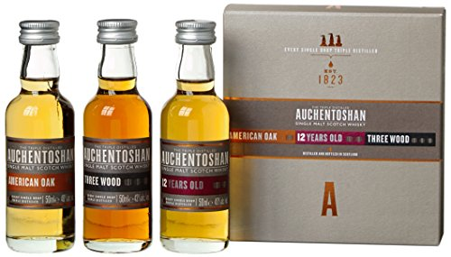 Auchentoshan Whisky Geschenkset mit American Oak,Three Wood, 12 Years Old 3 x 0,05l, (3er Pack)