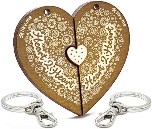 LIKY ® Amor Heart2Heart - Llavero corazón Partido Parejas Novios Original de Madera Grabado Regalo para Aniversario San Valentín Mujer Hombre cumpleaños pasatiempo joyería Colgante Bolso Mochila