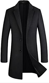 BININBOX Abrigo cortavientos de lana de longitud media para hombre otoño e invierno