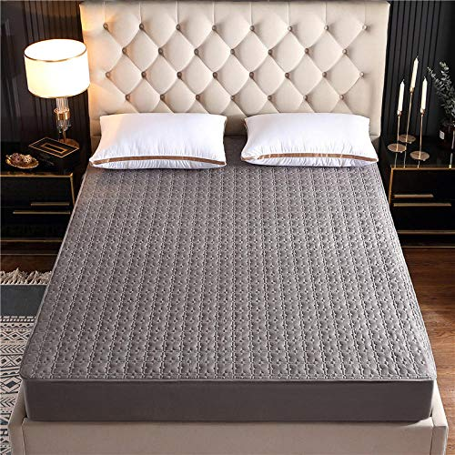 N / A King Fitted Bed Sheets,Thick brushed cotton antibacterial bedspread, dust-proof and non-slip bed cover-Grey_2_90*190cm