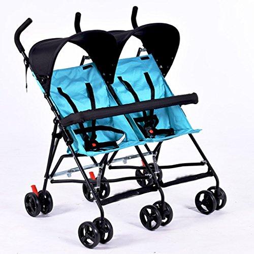 JIAO Carrito de bebé TwinsBabystroller Cochecito Ligero Cochecito Doble Carrito Plegable Carrito Carrito Coche niño (Color : A)