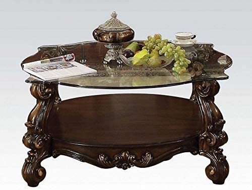 Best ACME Versailles Coffee Table - 82080 - Cherry Oak & Clear Glass
