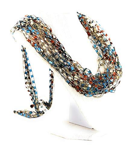 Wearable Art Adjustable Crochet Necklace Scarf Gift Idea- Color Blue Brown Shells