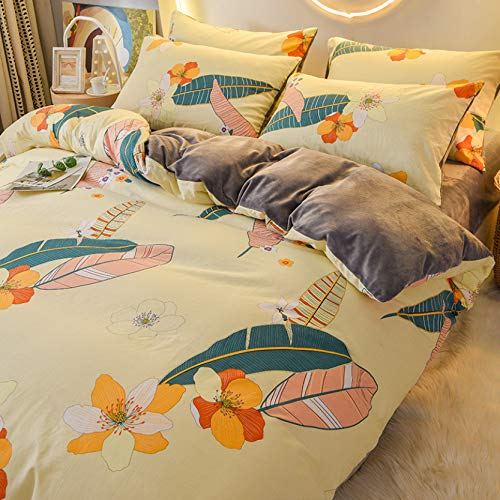 TIANENG Duvet Cover Sets Simple And Classy Printing Set Of 4 Piece Comfortable Fleece Warm Winter Bedding Set