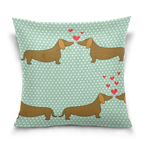 But why miss Throw Pillow Case Decorative Cushion Cover Square Pillowcase, Valentine's Day Dachshund Puppy Dog Polka Dot Sofa Bed Pillow Case Cover(18x18inch) Twin Sides