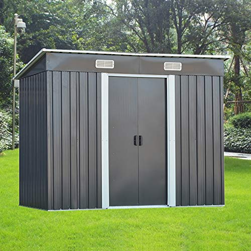8FT X 4FT Metal Garden Shed Utility Tool Storage, Pent Roof Outdoor House for Backyard and Garden (Gray)