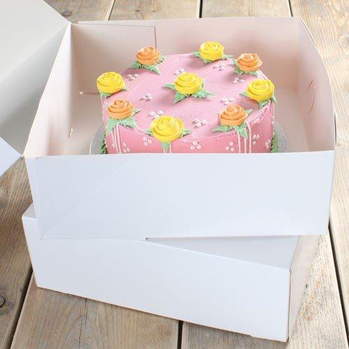 FunCakes Blanco-Caja para Tartas, 5 cm, 2 Unidades, 32 x 32 x 11, 5 cm