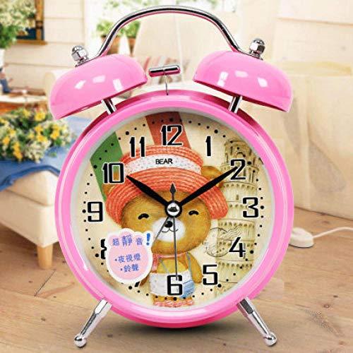 FPRW wekker voor kinderen met comic-motief in de kamer, mute-wekker met nachtlampje, beer, roze, 135 x 105 x 56 mm